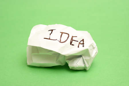 bad idea: A bad idea has been crumpled into a ball of paper. Stock Photo