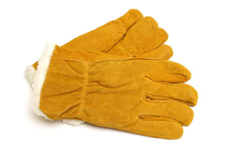 A brand new pair of insulated winter work gloves to protect any carpenters hands. Banque d'images