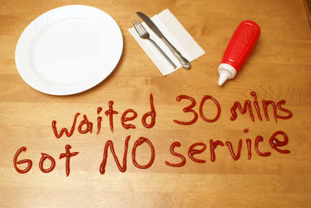 waited: An upset customer has left a messy message for the poor service rendered.