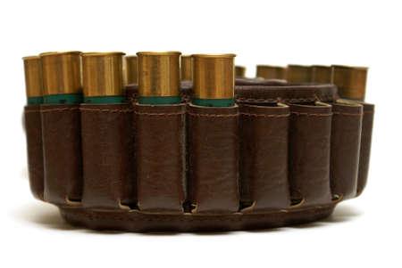A closeup image of a shotgun shell bandoleer. photo