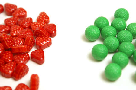 hard candy: A variety of fruit flavored candies at a macro shot level.