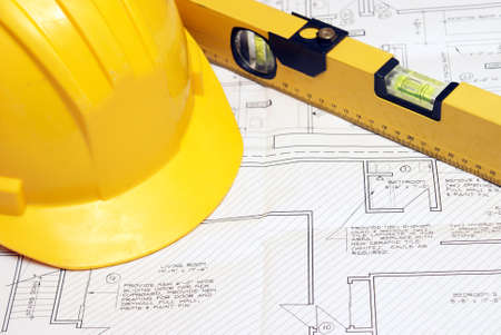 construction safety: An architectual blueprint for a residential housing unit.