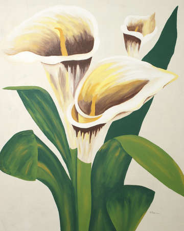 A painting of calla lilies on a canvas. photo