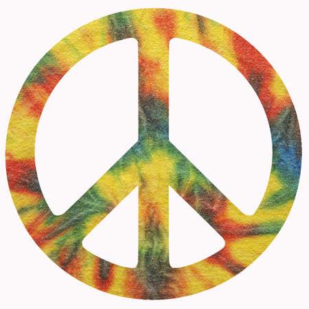 simbolo paz: Un símbolo de paz aislado con fondo del teñido anudado. Foto de archivo