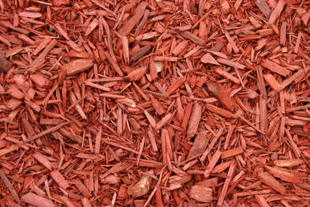 A closeup shot of red mulch used for garden decorating.