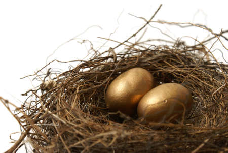A couple gold nest eggs for the idea of a wealthy retirement fund. photo