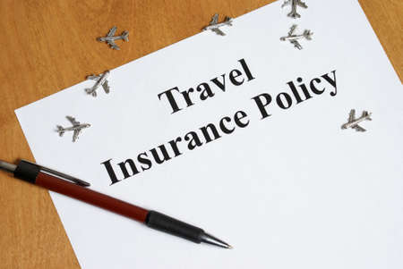 cancellation: Peace of mind comes with the purchase of travel insurance. Stock Photo