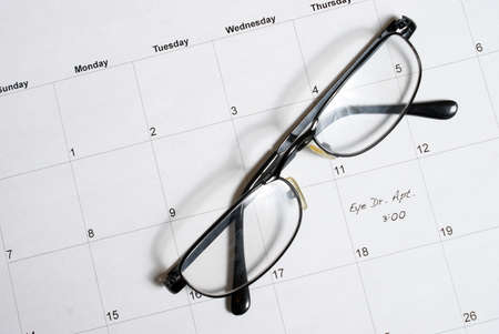 scheduled: A routine eye appointment is scheduled into the calendar.
