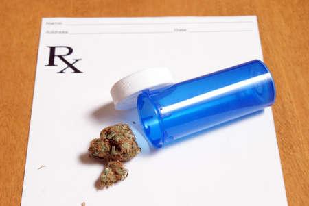 Some medical marijuana on a script pad. Stock fotó