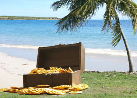 An unlocked chest full of treasure sits near the beach in the Caribbean.
