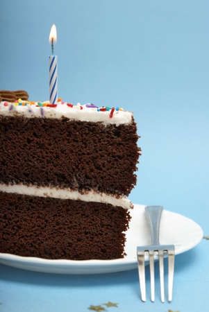 A slice of choclate cake to celebrate the occassion.
