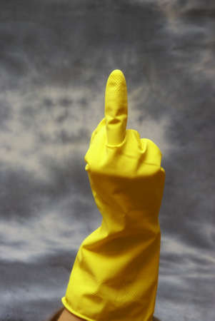 offend: An upset person gives cleaning the finger.