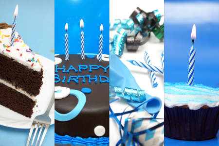 birthday cupcakes: A festive collage of birthday images to celebrate the occasion. Stock Photo