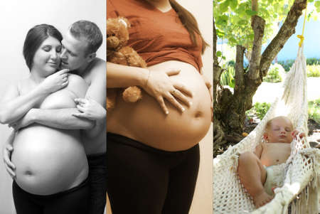 multiple images: Multiple images showing a couple starting a family.