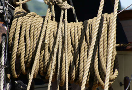 A bundle of rope on a tall ship at the harbor. Reklamní fotografie
