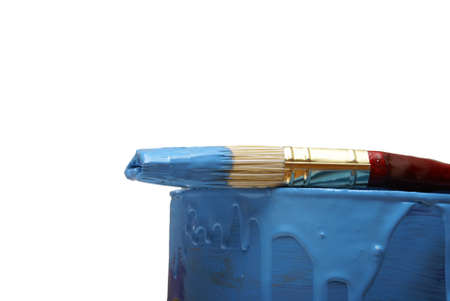 paintbucket: A paint brush and can with the colour blue.