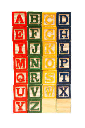 alphabet blocks: The alphabet from a to z carved out of wood.