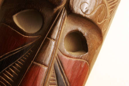 cultural artifacts: An African handmade mask on display.