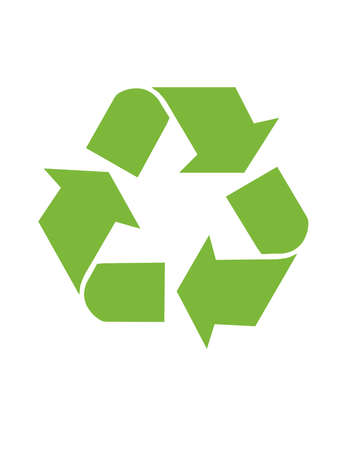 An isolated illustration of a recycle icon in green for Global conservation.