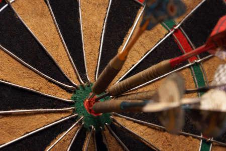 bullseye: A macro shot of an old style dart board.