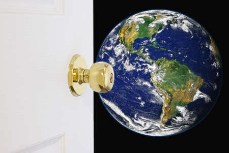 a courtesy: A door opening up to the world. Image credit of globe courtesy of NASA by public domain.