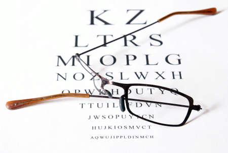 Broken eyeglasses sitting on top of eye test exam papper.