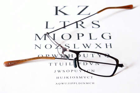 vision repair: Broken eyeglasses sitting on top of eye test exam papper.