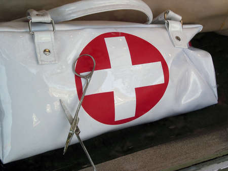 A closeup of a nurses first aid medical bag.