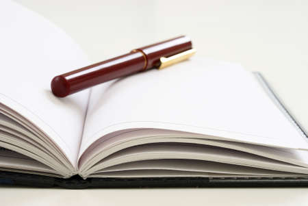 A closeup view of an elegant pen on top of an open journal with blank white pages. Stock Photo