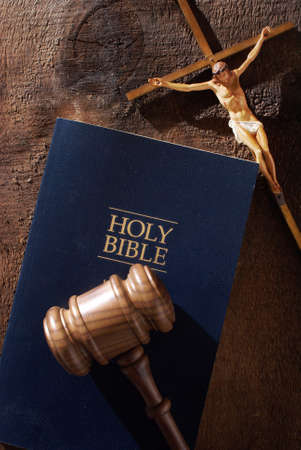 A still life composition representing the message of a divine judgment. Stock Photo