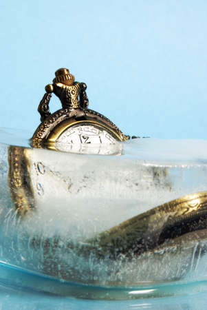 deep freeze: A block of ice has trapped this measurement of time in its cold deep freeze.