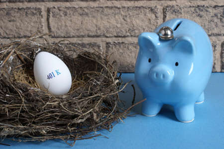 withdraw: A concept image with a nest egg prepared for retirement.