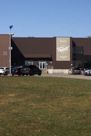 medical distribution: Smiths Falls, ONCanada: April 18 2016: The main entrance of the Tweed Marijuana Facility which produces and distributes legal weed products. Editorial