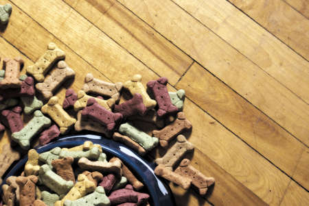 pileup: A pileup of dog biscuits spilled on the floor.
