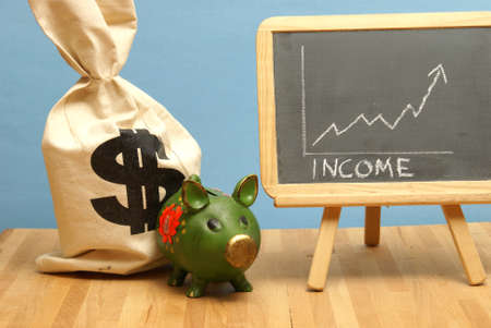 increased: A financial theme of income being increased. Stock Photo