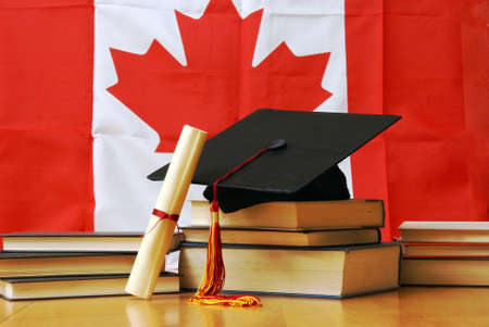 student: A theme based image of canadian school and education.