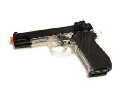 pellet gun: An isolated image of a hand style pellet pistol gun.