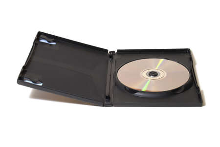 dvd case: Isolated image of an opened DVD case and disk revealed inside.