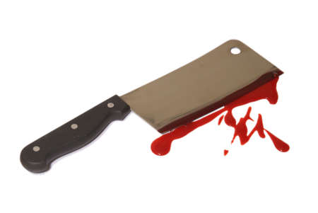 disturbing: A closeup of a bloody butcher knife over white.