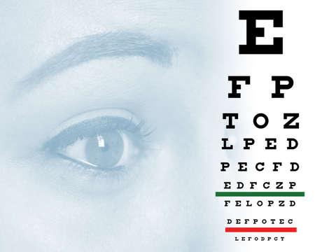Een womansoog en grafiek aan optometrist klinieken vormen voor blinden en slechtzienden.