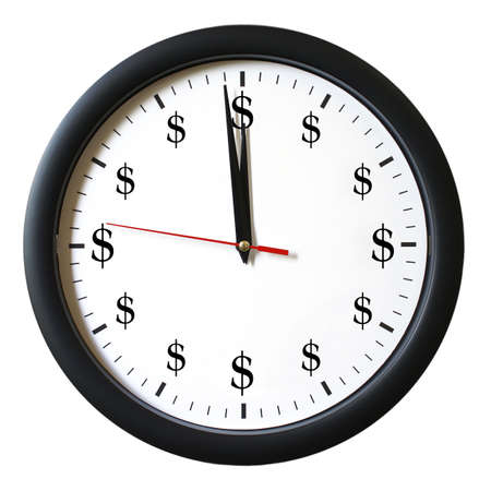 dollar sign: An isolated clock that represents how time is money.