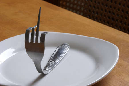 A unique way to say fork you as pictured here. Stock Photo