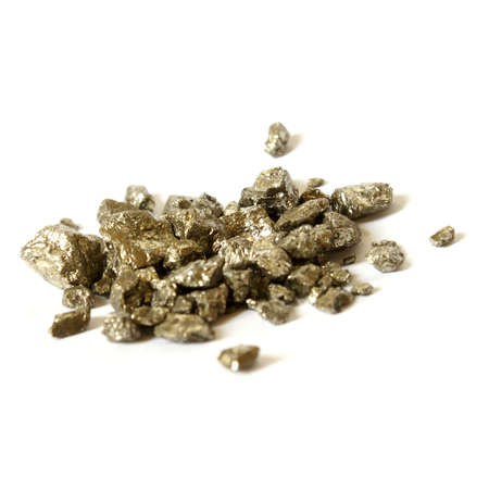 karat: An isolated pile of one troy ounce weighed gold nuggets. Stock Photo