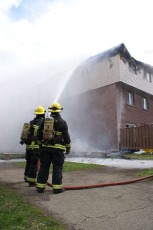 SMITHS FALLS, ON, CANADA, APRIL 28, 2017 - One of several editorial images recorded at the scene of an apartment building fire in this small town. Editorial