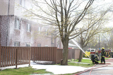 recorded: SMITHS FALLS, ON, CANADA, APRIL 28, 2017 - One of several editorial images recorded at the scene of an apartment building fire in this small town. Editorial