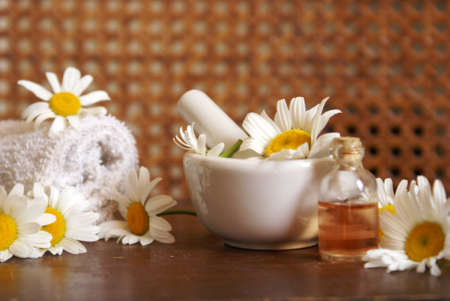 chamomile flower: Closeup of an herbalist station preparing some fresh chamomile essential oils for bottles. Stock Photo