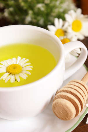 relaxant: A lovely fresh cup of Chamomile tea with a touch of honey.