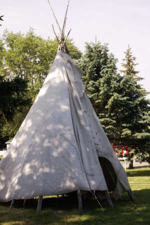 A closeup view of a native tee pee during an annual powwow held during the late springtime.