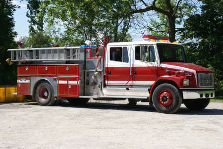 Closeup view of a firetruck ready for emergency rescues.