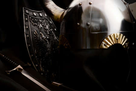 Still life image of some Medieval times armory used during combat.